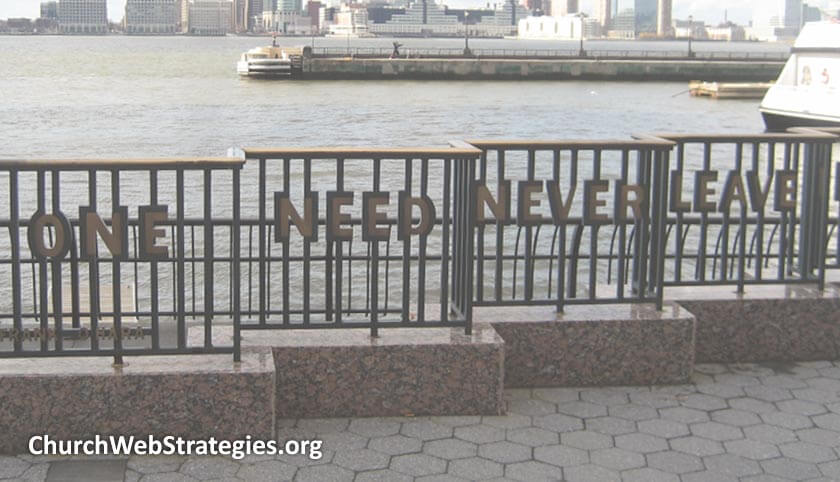 metal railing with words worked into the design