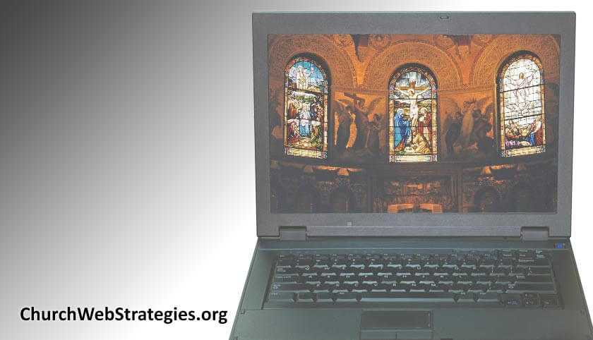 laptop computer showing inside of a church on the screen
