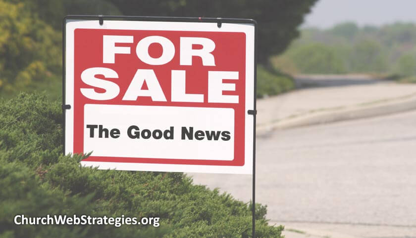 "For sale sign that is selling ""The Good News"""